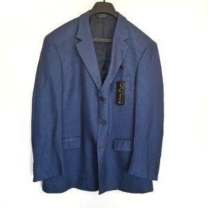 Andrew Fezza 100% Silk  Blue Blazer Sportcoat 46R